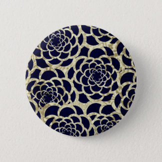 Navy And Gold Floral Art Button