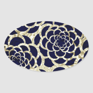 Navy And Gold Floral Art Oval Sticker