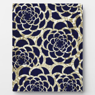 Navy And Gold Floral Art Photo Plaques