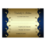 Navy and Gold Floral Swirls RSVP Invites
