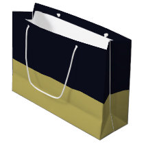 Navy and Gold Gift Bag - Large, Glossy