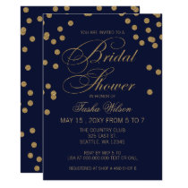 Navy and Gold Glitter  Confetti Bridal Shower Card