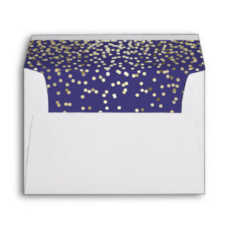navy and gold glitter confetti wedding envelope