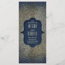 Navy and Gold Glitter Confetti Wedding Programs