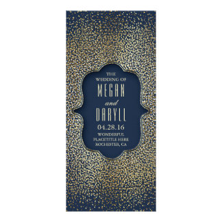 Navy and Gold Glitter Confetti Wedding Programs