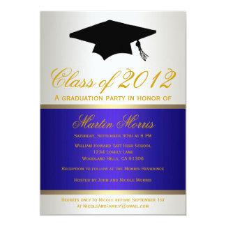 Navy and Gold Graduation Invitation