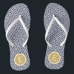 "Navy and Gold Greek Key Monogram Flip Flops<br><div class=""desc"">Custom printed flip flop sandals with a stylish modern Greek key pattern and your custom monogram or other text in a circle frame. Click Customize It to change text fonts and colors or add your own images to create a unique one of a kind design!</div>"