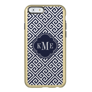 Navy and Gold Greek Key Monogram Incipio Feather Shine iPhone 6 Case