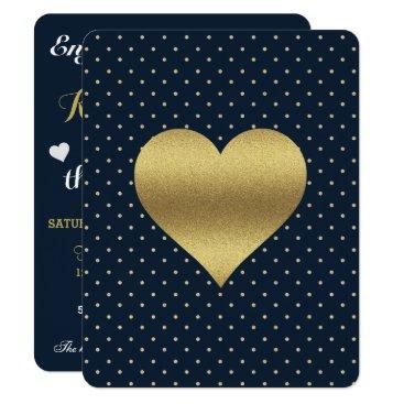 McTiffany Tiffany Aqua Navy And Gold Heart & Polka Dot Party Invitation