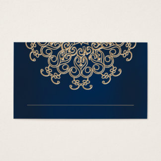 Navy and Gold Indian Inspired Seating Place Card