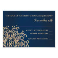 NAVY AND GOLD INDIAN STYLE WEDDING RESPONSE CARD (<em>$1.96</em>)