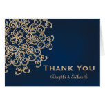 Navy and Gold Indian Style Wedding Thank You Card