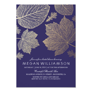 Navy and Gold Leaves Fall Bridal Shower Card