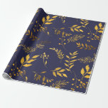 "Navy and Gold Leaves Wrapping Paper<br><div class=""desc"">Navy and Gold Leaves Wrapping Paper</div>"