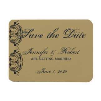 Navy and Gold Masquerade Save the Date Rectangular Photo Magnet