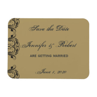 Navy and Gold Masquerade Save the Date Rectangle Magnets