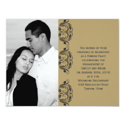 Navy and Gold Masquerade Wedding Engagement Card
