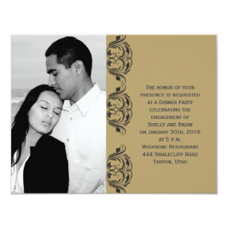 Navy and Gold Masquerade Wedding Engagement 4.25x5.5 Paper Invitation Card