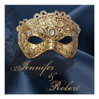 Navy and Gold Masquerade Wedding Invitation