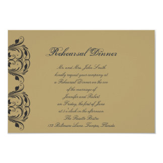 Navy and Gold Masquerade Wedding Rehearsal Dinner Announcement