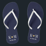 """Navy and Gold Modern Wedding Monogram Flip Flops<br><div class=""""desc"""">Custom printed flip flop sandals personalized with a cute heart and your monogram initials and wedding date. Click Customize It to change text fonts and colors or add your own images to create a unique one of a kind design!</div>"""