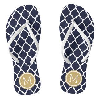 Navy and Gold Moroccan Quatrefoil Monogram Flip Flops