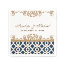 Navy and Gold Moroccan Wedding Napkin