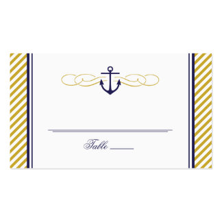 NAVY AND GOLD NAUTICAL ANCHOR WEDDING ESCORT CARD BUSINESS CARDS