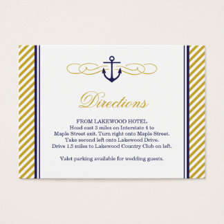 Navy and Gold Nautical Anchor Wedding Insert Card