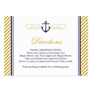 Navy and Gold Nautical Anchor Wedding Insert Card Large Business Cards (Pack Of 100)