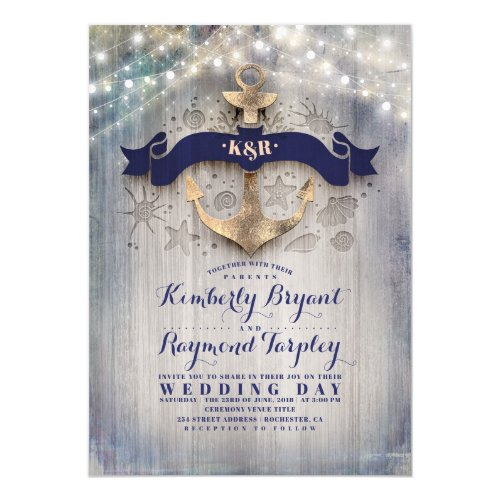 Navy and Gold Nautical Rustic Anchor Beach Wedding Invitation
