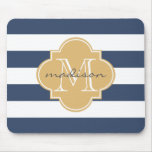 Navy and Gold Nautical Stripes Custom Monogram Mouse Pad