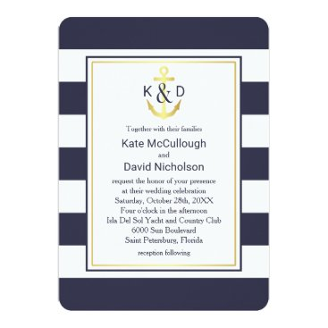 Beach Themed Navy and Gold Nautical Wedding Card