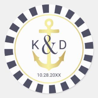 Navy and Gold Nautical Wedding Classic Round Sticker