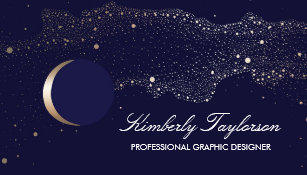 Navy business cards templates zazzle navy and gold night stars crescent moon modern business card colourmoves