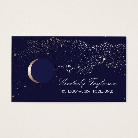 Navy and gold night stars crescent moon modern business card navy and gold night stars crescent moon modern business card colourmoves Images