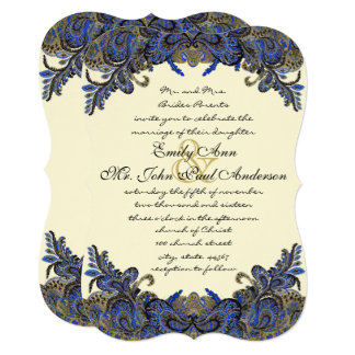 Navy and Gold Peacock Ivory Wedding Invitation