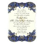 "Navy and Gold Peacock Ivory Wedding Invitation 5"" X 7"" Invitation Card"