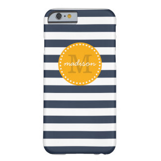 Navy and Gold Preppy Stripes Custom Monogram Barely There iPhone 6 Case
