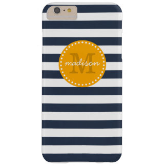 Navy and Gold Preppy Stripes Custom Monogram Barely There iPhone 6 Plus Case
