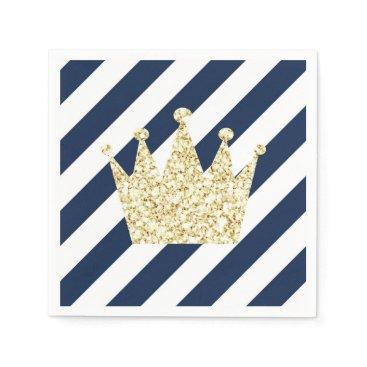 USA Themed Navy and Gold Prince Crown Napkins
