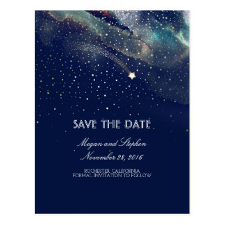 Navy and Gold Shooting Star Night Save The Date Postcard