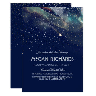 Navy and Gold Shooting Star Starry Baby Shower Card