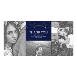 Navy and Gold Shooting Star Wedding Thank You Card