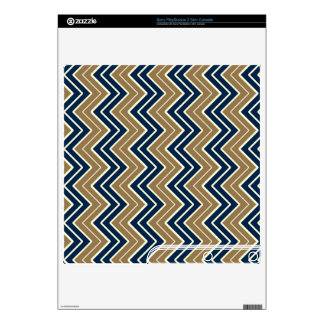 Navy and Gold Sideways Chevron Skins For PS3 Slim