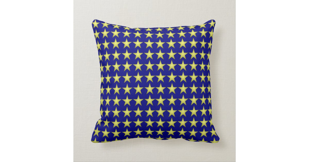 Navy and gold star pattern throw pillow Zazzle