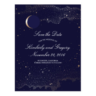 Navy and Gold Starry Night Moon Save the Date Postcard