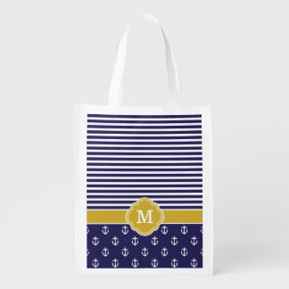 Navy and Gold Stripes and Anchors Monogram Market Tote