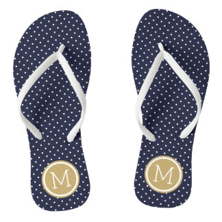 Navy and Gold Tiny Dots Monogram Flip Flops