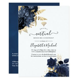 Navy Blue and Gold Virtual Wedding Invitations Vintage Shabby Roses